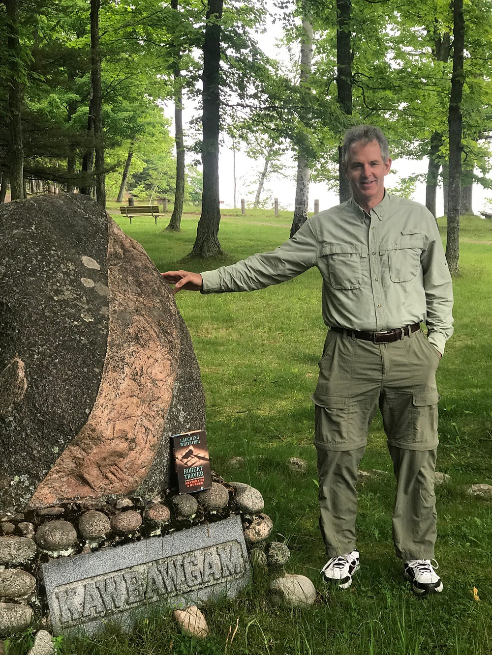 Yours truly on Presque Isle at the Kawbawgam grave.
