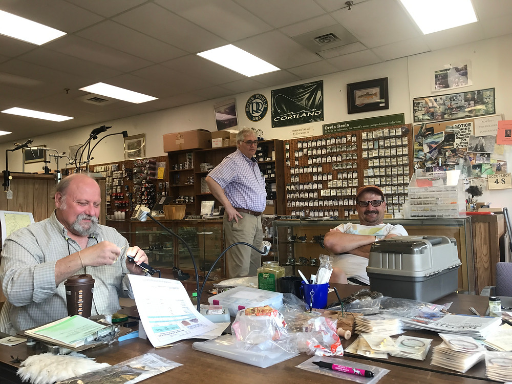 Tying flies and shooting the breeze in Flyfisher's Paradise shop in Bellefonte, PA