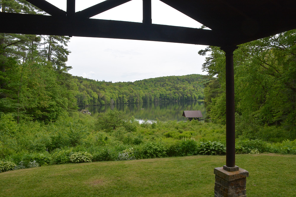 View from the porch at Lake Mitchell Trout Club, Sharon, Vermont