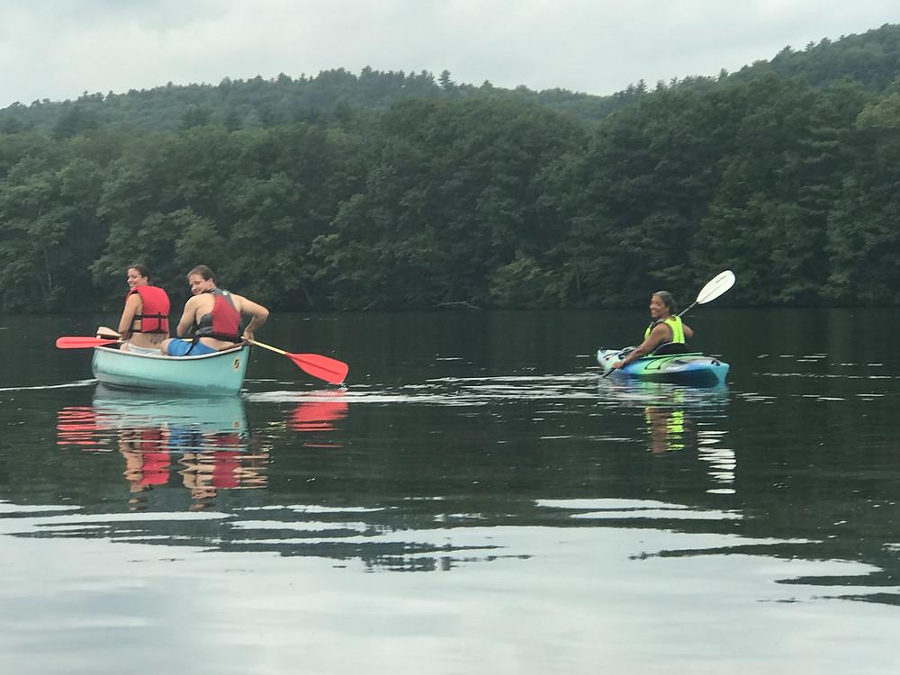Rosa, Jack and Cheryl enjoy a paddle on a sultry Sunday.