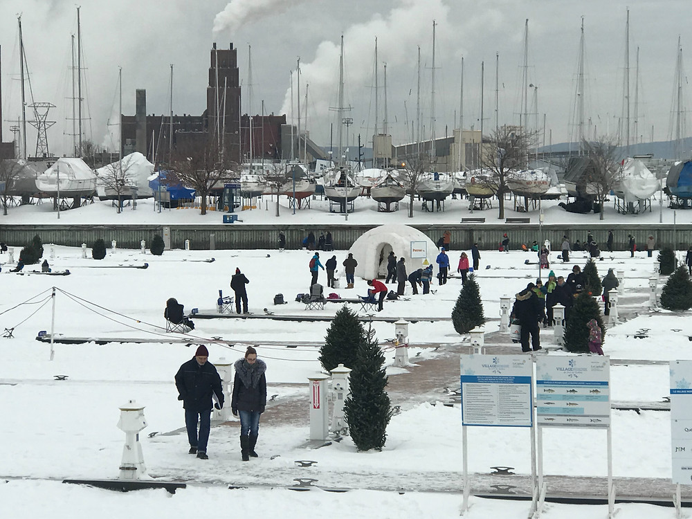 Ice fishing at Louise Basin in the Port of Quebec