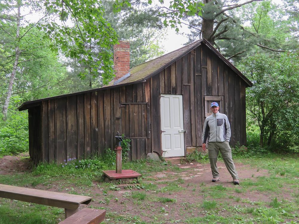 DVW at Aldo Leopold's shack near the Wisconsin River.
