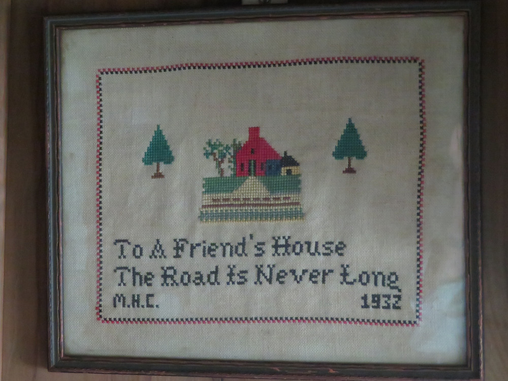 Needlepoint on the wall in Winter House