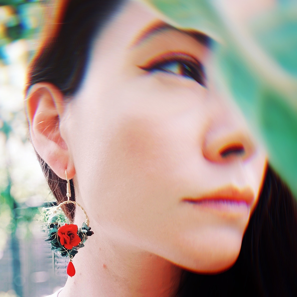 Floral and Emerald earrings