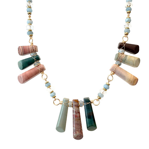 'Ancestor' necklace - green, blue and pink agate