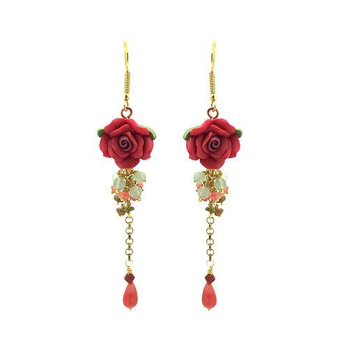 'Flower garden' gemstone tumble drop earrings - coral & peridot