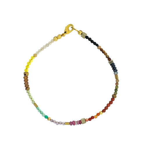 'Dainty' stacking bracelet - Rainbow gemstone mix