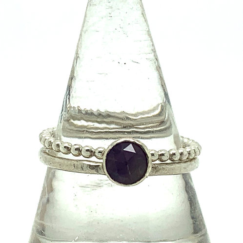 Sterling silver stack with amethtyst