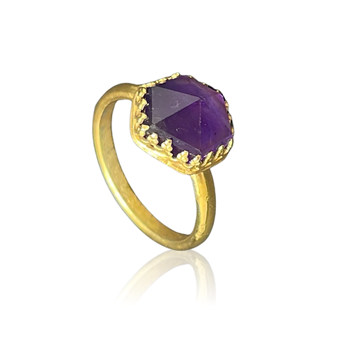 Amethyst rose-cut stone in 24ct gold plated sterling silver ring