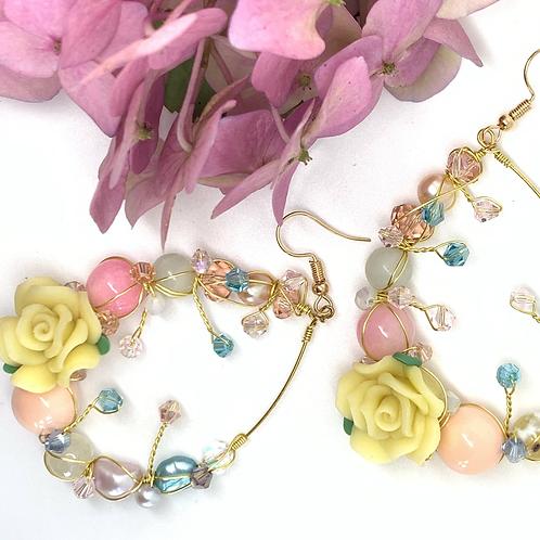 'Flower garden' gemstone mix teardrop - yellow