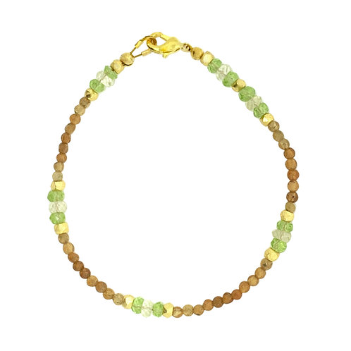 'Dainty' stacking bracelet - hessonite garnet & peridot