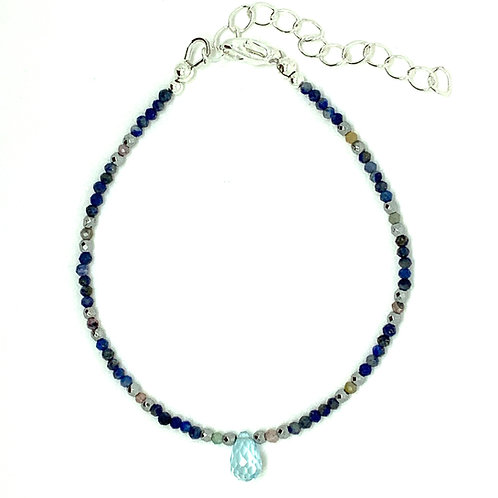 'Friendship' stacking bracelet - lapis and topaz