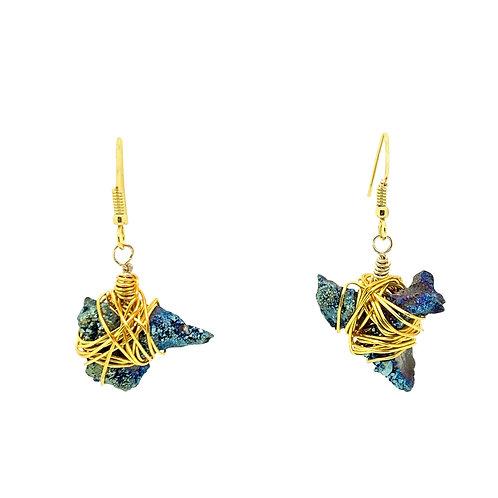 'Dagger' earrings - purple rainbow druzy