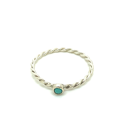 Sterling silver hand-twisted wire ring with turquoise stone