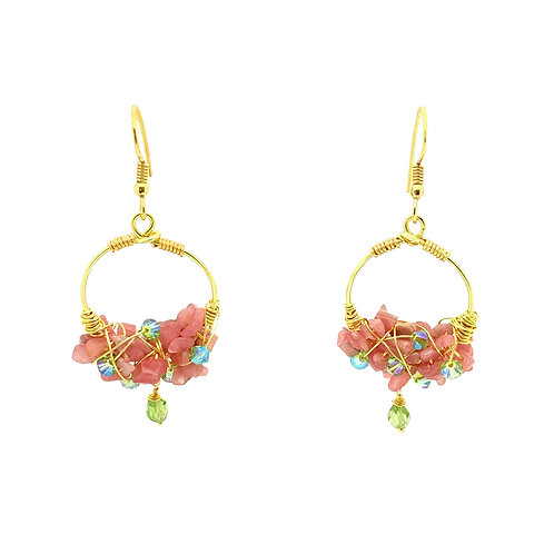 'Duchess' hoop gem cluster earrings - pink opal
