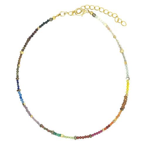 'Dainty' stacking choker - Rainbow gemstone mix