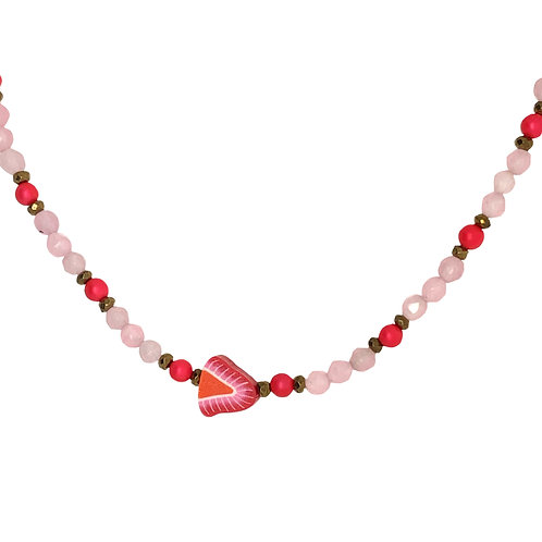 'Fruity' strawberry stacking necklace - rose quartz and pink frosted shell