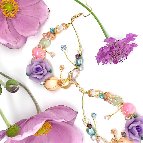 'Flower garden' gemstone mix teardrop - pink