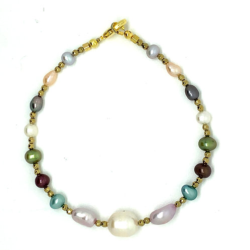 'Over the Rainbow' - Rainbow pearl stacking bracelet