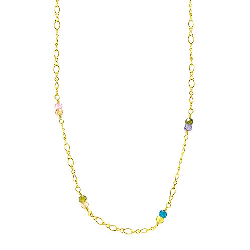 'Rosary' stacking choker - rainbow cubic zirconia