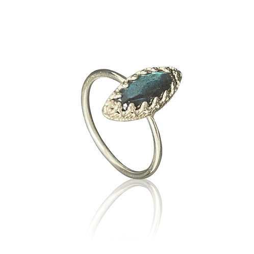 Labradorite marquise stone sterling silver ring