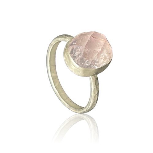 Large faceted oval kunzite in sterling silver ring
