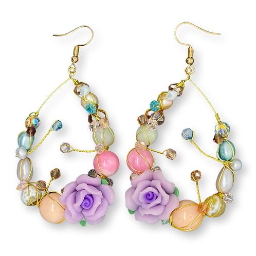 'Flower garden' gemstone mix teardrop - lilac