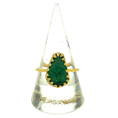 Large irregular green tourmaline in 24ct gold plated sterling silver ring