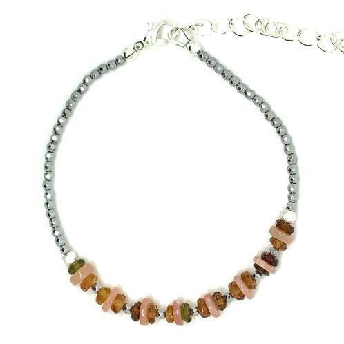 'October' stacking bracelet - tourmaline and opal