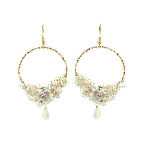 'Flower garden' Large hoop gem cluster earrings - white moonstone & quartz