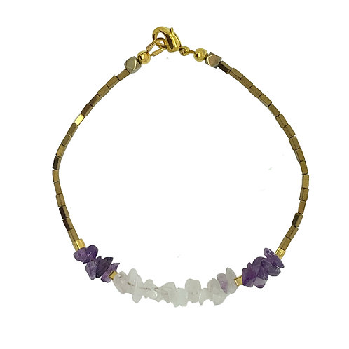 'Motherhood' stacking bracelet - rose quartz & amethyst