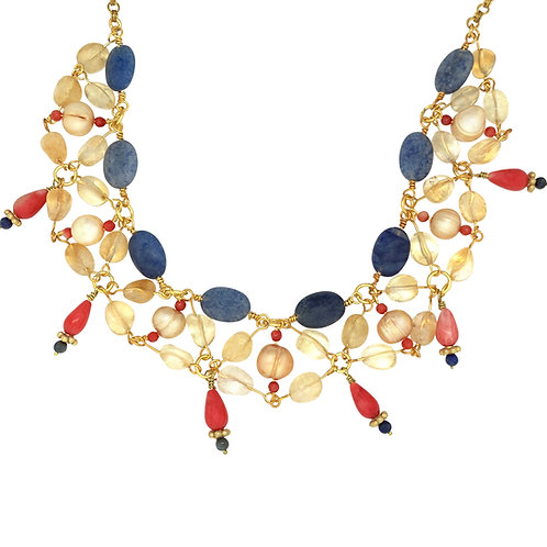 'Usekh' collar necklace - coral