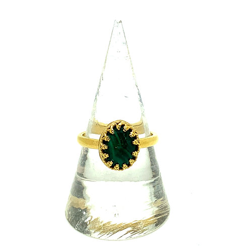 Oval malachite cabochon in 24ct gold plated sterling silver ring