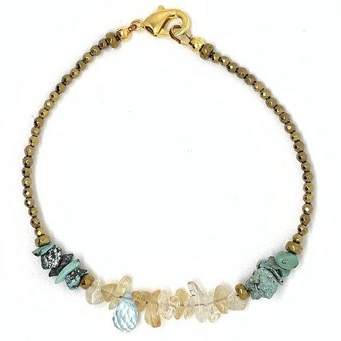 'November' stacking bracelet - citrine and topaz