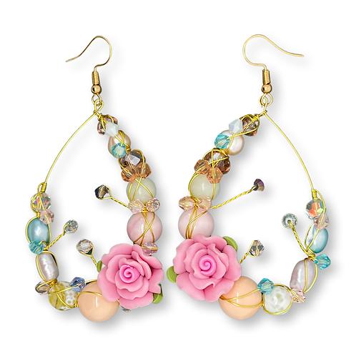 'Flower garden' gemstone mix teardrop - pink