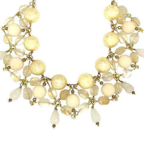 'Usekh' collar necklace - citrine and quartz