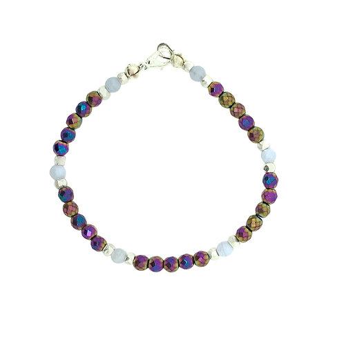'Dainty' stacking bracelet - rainbow hematite
