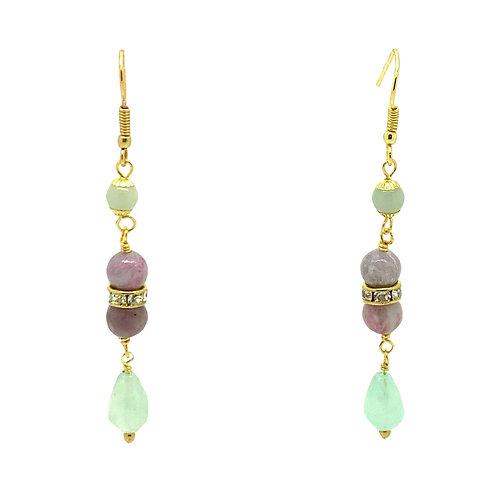 'Gatsby' earrings - lepidolite & fluorite