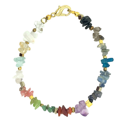 'Trinket' stacking bracelet - Rainbow chip gemstone mix