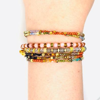 rainbow stacking bracelets gemstones