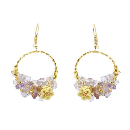 'Flower garden' hoop gem cluster earrings - amethyst