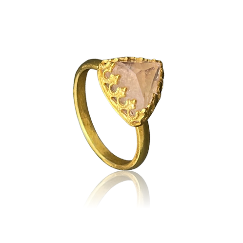 Pink morganite pyramid-cut stone in 24ct gold plated sterling silver ring