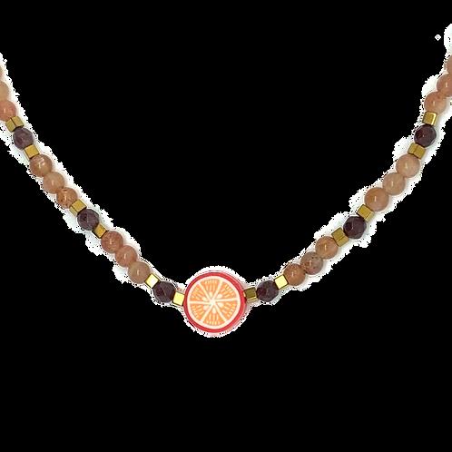 'Fruity' orange stacking necklace - sunstone & garnet