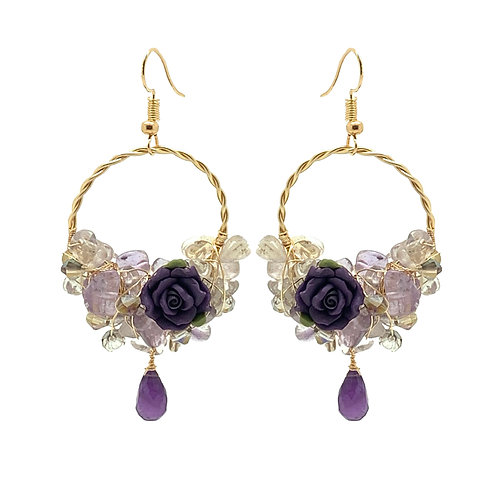 'Flower garden' small hoop gem cluster earrings - amethyst