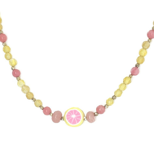 'Fruity' pink grapefruit stacking necklace - yellow agate and dusky pink quartz