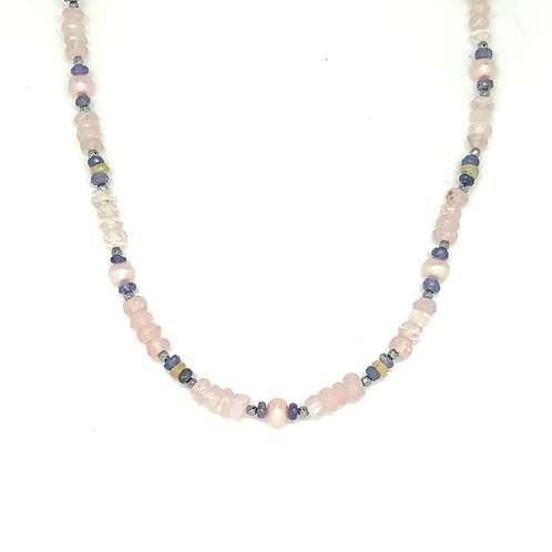 'Beads' rose quartz stacking necklace with pearl and tanzanite