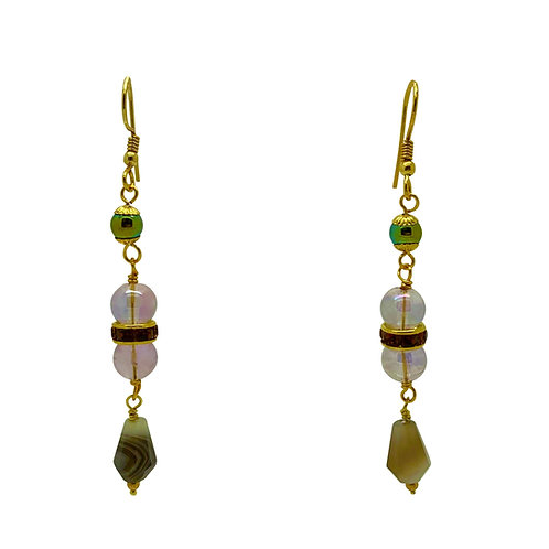'Gatsby' earrings - amethyst & agate