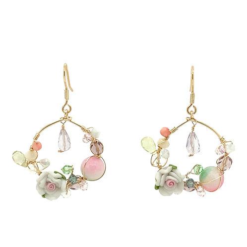 'Flower garden' hoop gemstone mix earrings - pastel