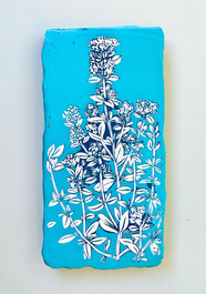 Thyme, 12 x 6 inches - Hand carved on layers of acrylic paint on wooden panel, 2021 - Tan