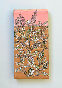 Thai Basil, 12 x 6 inches - Hand carved on layers of acrylic paint on wooden panel, 2021 -